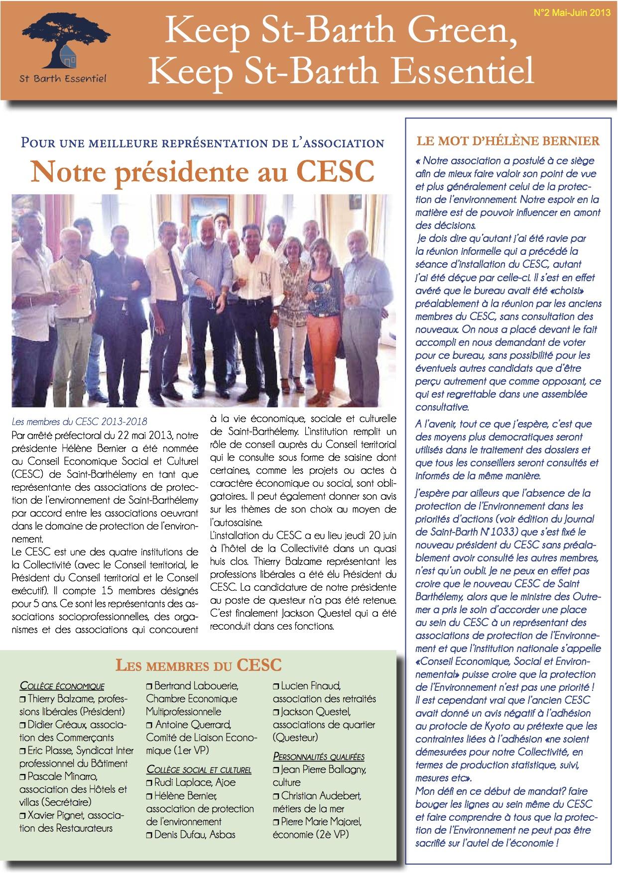 NEWSLETTER N°2 – novembre 2013