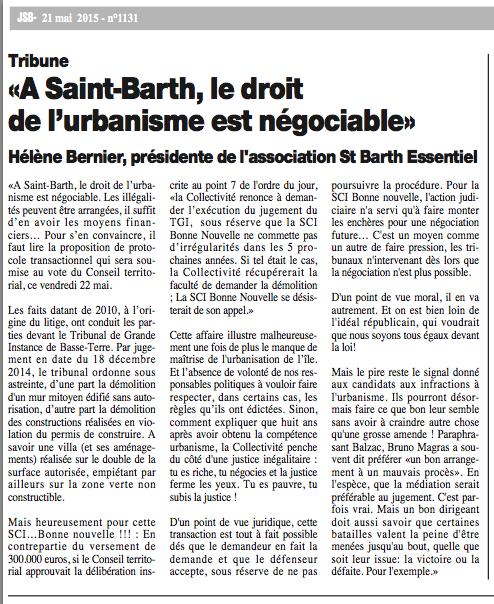 JOURNAL DE ST BARTH N°1131 : «A St-Barth, le droit de l'urbanisme est négociable», Mai 2015