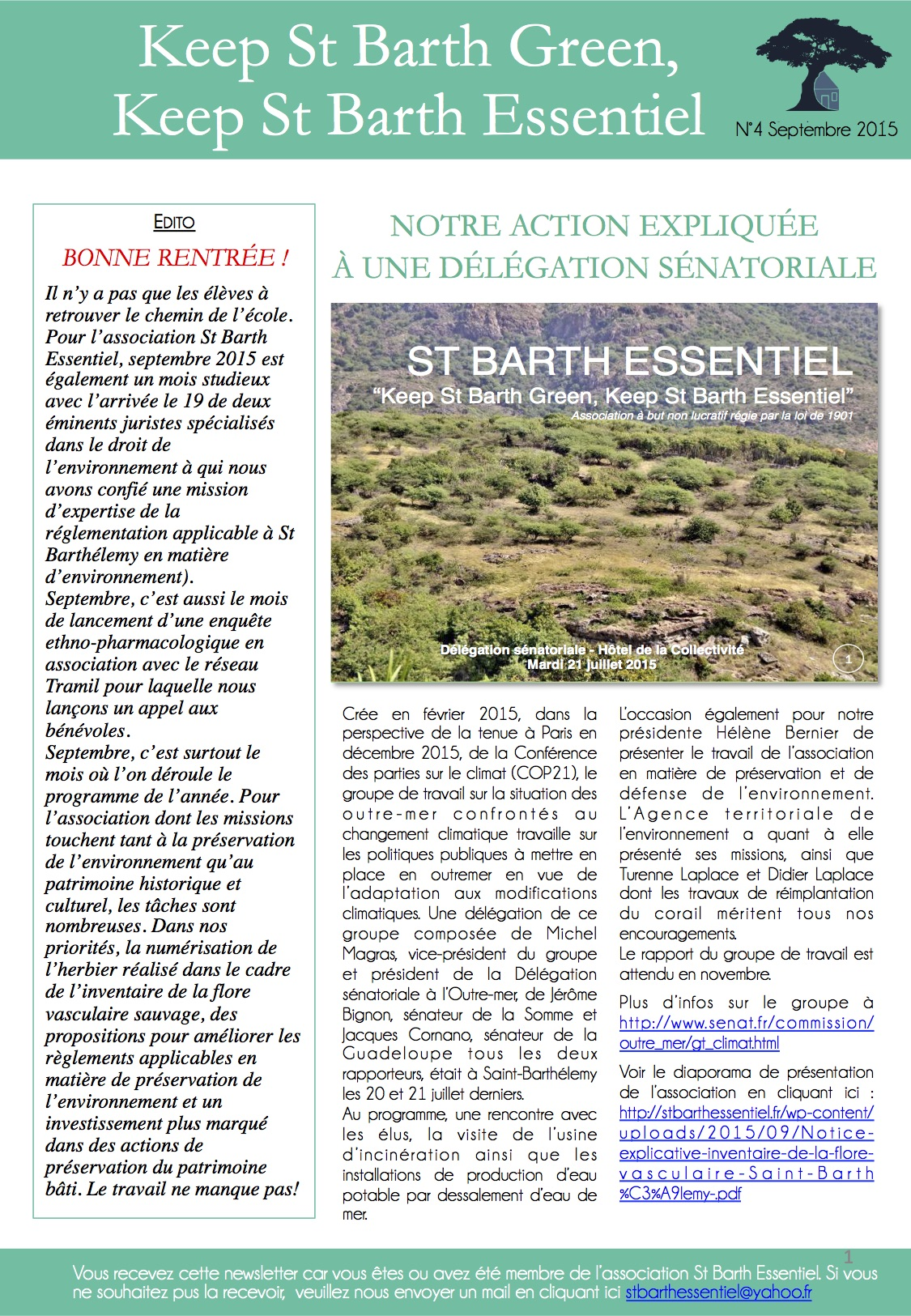 NEWSLETTER N°4 – septembre 2015
