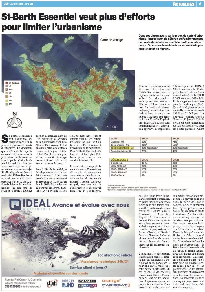 JOURNAL DE SAINT BARTH N°1184 : «St-Barth Essentiel veut plus d'efforts pour limiter l'urbanisme»